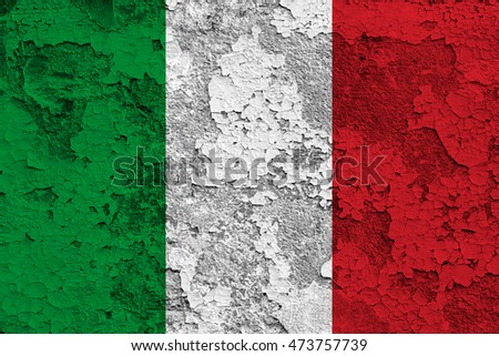 Italy flag over crack and grunge wall texture background