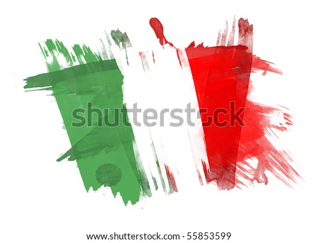 Italy Flag painted in White Background - stock photo