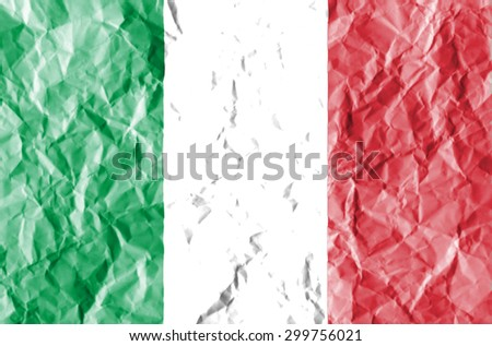 Italy flag painted on crumpled paper background. - stock photo