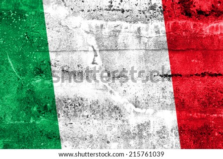 Italy Flag painted on grunge wall - stock photo
