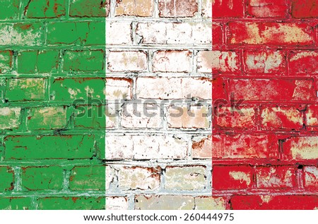 Italy flag painted on old brick wall texture background - stock photo