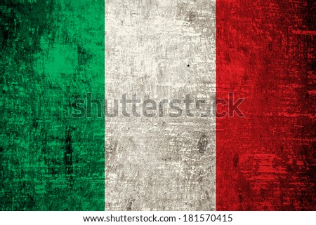 Italy flag painted on old wood texture