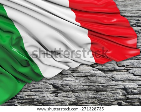 Italy Flag with stone - stock photo