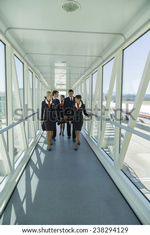 Italy, flight assistants in a Finger, soft focus - stock photo