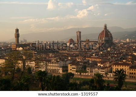 Italy, Florence at sunset - stock photo