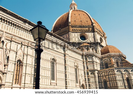 Italy. Florence. Lovely view of the Basilica di Santa Maria del Fiore - stock photo