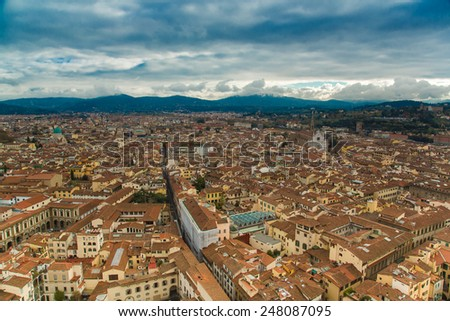 Italy. Florence. Panoramic view to the city from above - stock photo