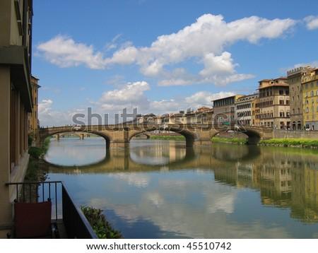 Italy. Florence. River Arno. Bridge. - stock photo