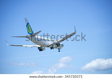 ITALY - FLORENCE SEPTEMBER 02: Transavia in fleet aircraft landing at the airport of Peretola, 02 Septembre 2015, Italy. Peretola airport is the second airport in Tuscany.