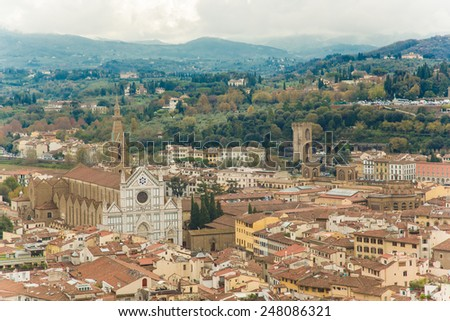 Italy. Florence. View to the city and Cathedral Santa Maria Novella.