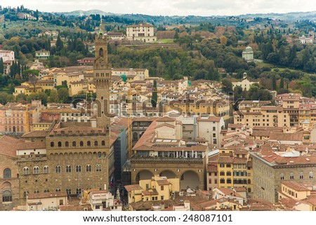 Italy. Florence. View to the city and Piazza dei Signori from above