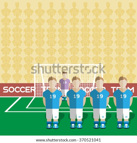 Italy Football Club Soccer Players Silhouettes. Computer game Soccer team players big set. Sports infographic. Football Teams in Flat Style. Goalkeeper Standing in a Goal. Raster illustration. - stock photo