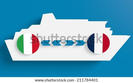 italy france ferry boat route info in icons - stock photo