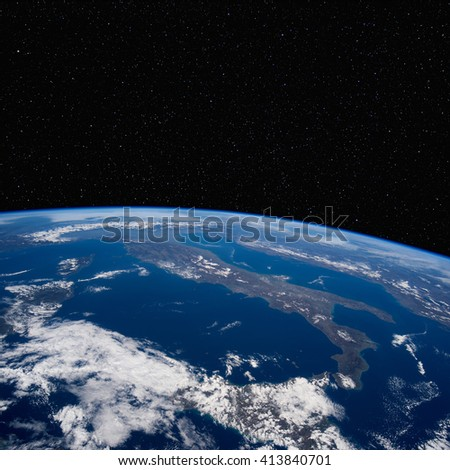 Italy from space with stars above. Elements of this image furnished by NASA.  - stock photo