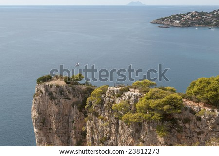 Italy, Gaeta. The mountain Orlando. Tyrrhenian Sea. Viewing platform at top of cliff