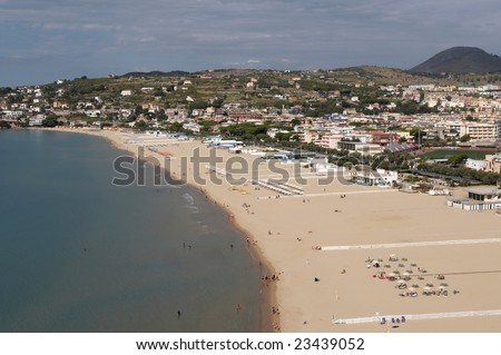 Italy, Gaeta. Tyrrhenian Sea. City beach