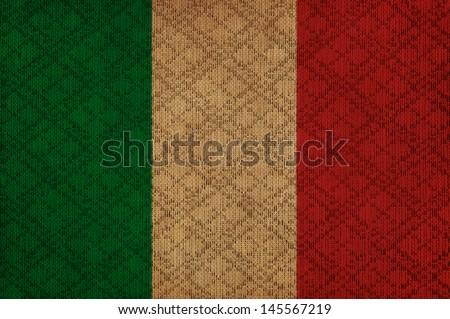Italy grunge canvas flag - stock photo