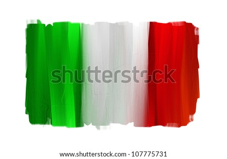 Italy hand painted national flag isolated on white