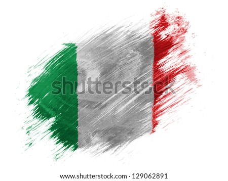 Italy. Italian flag  painted with brush on white background - stock photo