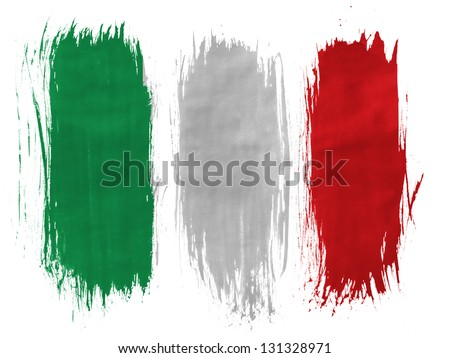 Italy. Italian flag  painted with 3 vertical  brush strokes on white background