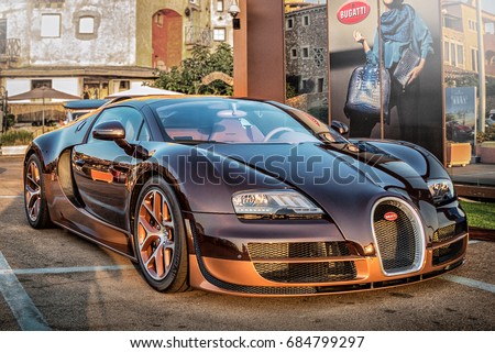 Italy July 2017   Front View Of The Super Car Bugatti Veyron On Display At  Porto