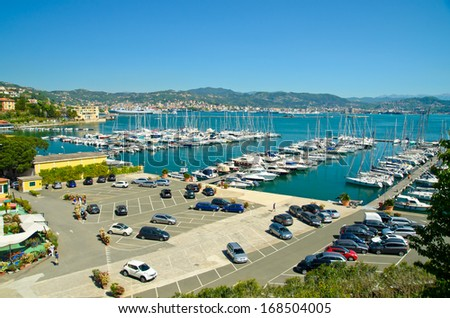 Italy, La Spezia - port city. seascape, parking cars - stock photo