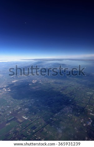 Italy, Lazio,  aerial view of the countryside South of Rome