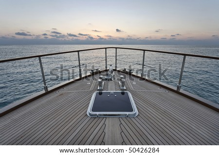 Italy, Lazio, Fiumicino, Tirrenian sea, Morgan 70' Lobster luxury yacht, bow - stock photo