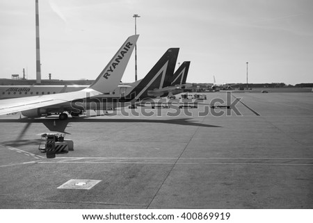 Italy, Lazio; 27 March 2016, airplanes on the runway at the Fiumicino International Airport - EDITORIAL