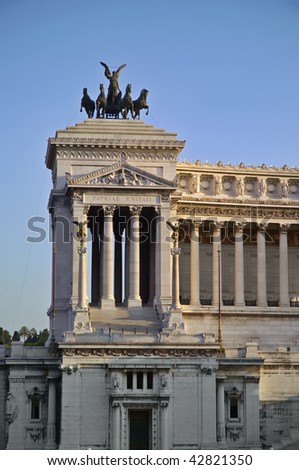 Italy, Lazio, Rome, Venezia Square, view of the Vittoriano building at sunset