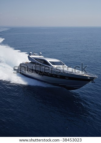 ITALY, Lazio, Tirrenian sea, off the coast of Fiumicino/Rome, aerial view of luxury yacht - stock photo