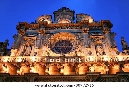 "Italy Lecce Historic center ""Santa Croce Church"" baroque architecture at night. Italy - stock photo"