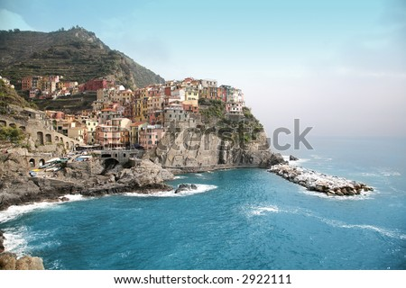 Italy Liguria cinque terre five - stock photo