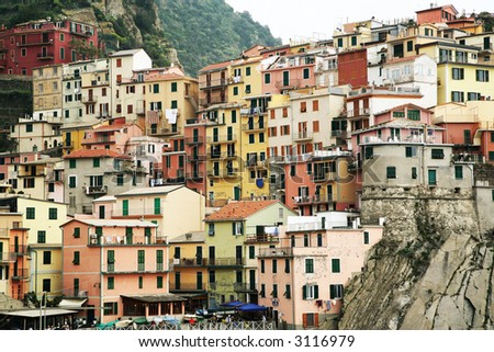 Italy Liguria region Cinque Terre Five Lands Manarola - stock photo