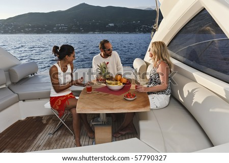 Italy, Liguria, Tirrenian coastline, luxury yacht,  Azimut Atlantis 50', dinette and life on board while cruising - stock photo