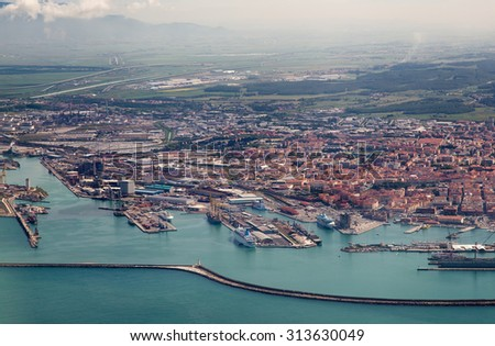 Italy. Livorno. View of the city and a seaport with bird's-eye view - stock photo