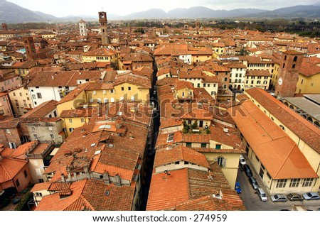 italy lucca red roof scene top tuscany view town village