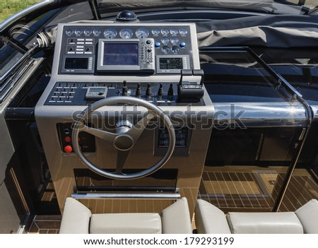 Italy, luxury yacht, cockpit, driving consolle closeup