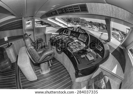 Italy, luxury yacht, dinette, driving consolle