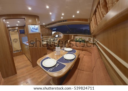 Italy, luxury yacht, Fiumicino, Rome, luxury yacht', dinette and driving consolle