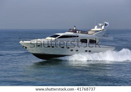 Italy, luxury yachy, Tirrenian sea, off the coast of Fiumicino, Rome, Rizzardi Technema 65' - stock photo
