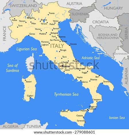 Italy map - stock photo