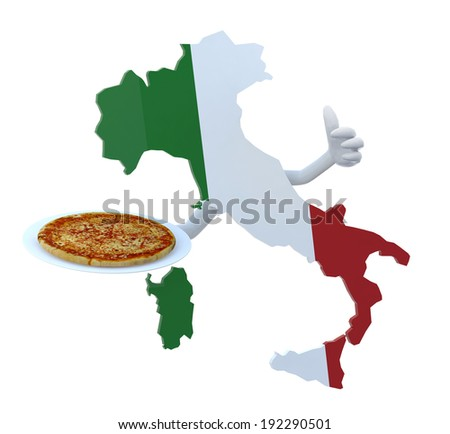Italy map cartoon with arms and pizza on dish