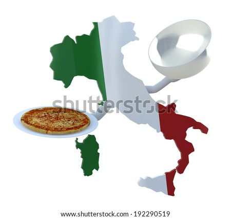 Italy map cartoon with arms and pizza on dish - stock photo