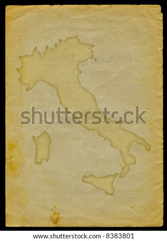 Italy map engraved on a old paper page clipping path of the map is included - stock photo