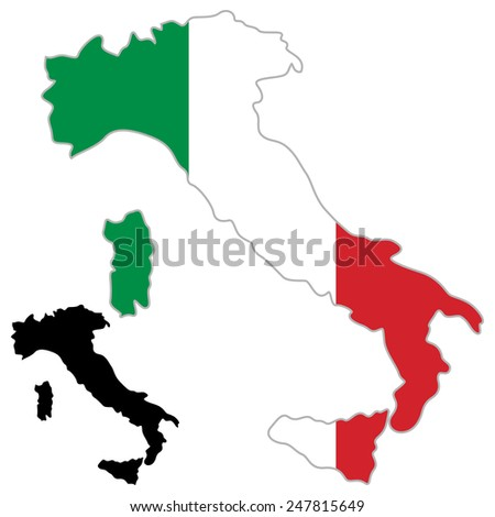 Italy Map Flag Italian Banner Land Stock Vector - Clear map of italy
