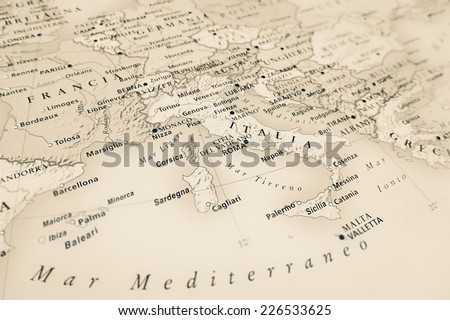 Italy map (Geographical view altered on colors/perspective and focus on the edge. Names can be partial or incomplete) - stock photo