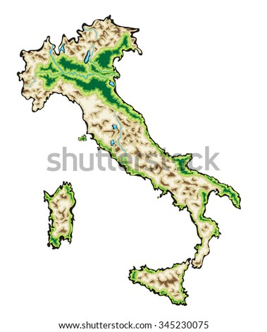 Italy Map Illustration isolated on a white background