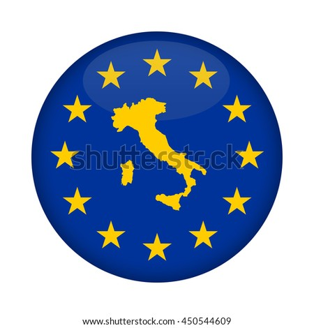 Italy map on a European Union flag button isolated on a white background. - stock photo