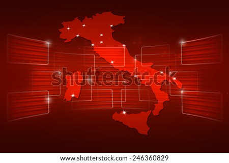 Italy Map World map News Communication delivery red